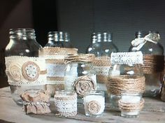 Shabby chic jars for candles or flowers