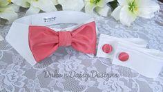 Coral Dog Bow Tie Collar & Cuff Set- Coral Dog Wedding Attire by DukeNDaisyDesigns, $39.50 #coralwedding #weddingdog