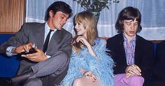 Alain Delon , Marianne Faithful and Mick Jagger 1968
