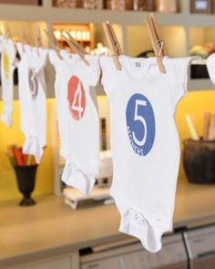 Numbered Baby Bodysuits. Searching for the perfect baby-shower gift? You can't go wrong with these numbered bodysuits. One for each month of baby's first year! Good way to keep up with growth in a scrapbook!