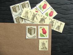 Tulips and Windmills .. Vintage UNused Postage Stamps