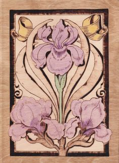 Colorized antique Iris seed packet, woodburn hand made pyrography Lilac on Etsy, £18.58