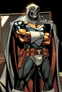 Marvel Comics super villain Taskmaster:  If he wants to stand out, he's going to have to stop dressing like Doctor Doom.