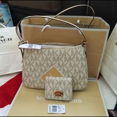 Michael Kors Michael Kors Bag and Wallet 100% Authentic. Brand New, color Vanilla  Michael Kors Bags Shoulder Bags