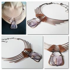 Wire necklace with Amethyst stone inspired by Egyptian style,Copper wire necklace,Statement necklace https://www.etsy.com/listing/249513816/wire-necklace-with-amethyst-stone?ref=shop_home_active_2