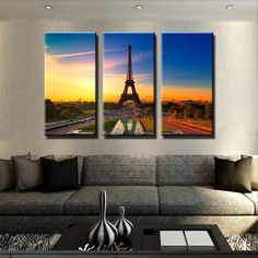 Eiffel Tower Sunset Canvas Set