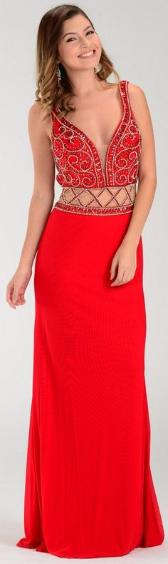 8f47eb040a4 ON SPECIAL LIMITED STOCK - Poly USA 7198 Deep V Neckline Long Prom Gown Red  Sheer Waist