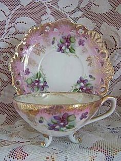 Vintage tea cup and saucer with miniature violets. Grandma had a collection of tea cup and saucers. Tea Cup Set, My Cup Of Tea, Tea Cup Saucer, Tea Sets, Antique Tea Cups, Antique Dishes, Vintage Teacups, Vintage China, China Tea Cups
