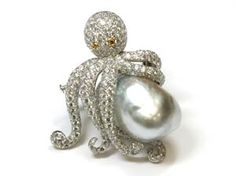 One-of-a-kind diamond and baroque pearl octopus brooch from Assael