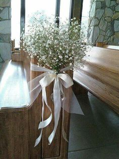 Cliffs of Glassy babies breath Wedding aisle flower décor wedding ceremony flowers pew flowers wedding flowers add pic source on comment and we will update it.myfloweraffai can create this beautiful wedding flower look. Wedding Church Aisle, Wedding Pews, Wedding Aisle Decorations, Wedding Ceremony Flowers, Wedding Bouquets, Church Decorations, Church Pews, Wedding Rustic, Rustic Weddings