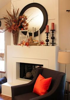 fall mantle decor Sweet Something Designs: 31 Days With ME: DIY Fall Letters Fall Home Decor, Autumn Home, Chimney Decor, Fall Fireplace, Simple Fireplace, Fall Mantel Decorations, Mantel Ideas, Piece A Vivre, Living Room Decor