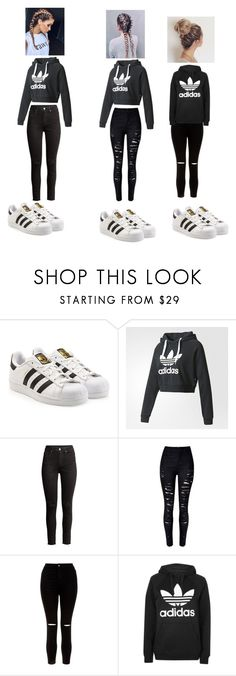 """""""squad"""" by nylaalvarez on Polyvore featuring adidas, New Look and Topshop"""
