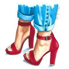 Fashion illustration - heels print - fashion art print - fashion sketch - gifts for her - shoes illustration - girly art - fashion artwork Fashion Illustration Shoes, Illustration Mode, Fashion Illustrations, New Fashion, Trendy Fashion, Fashion Art, Fashion Design Drawings, Fashion Sketches, Drawing Fashion