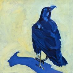 Black Raven Fine Art Painting. 135.00 dollars via Etsy. EvelynMcCPetersArt