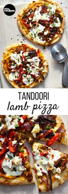 Tandoor Lamb Pizza | MyRecipes  This pizza is loaded with fantastic tandoori flavor and ground lamb, giving it an authentic edge and creating one big burst of flavors all on one pizza.