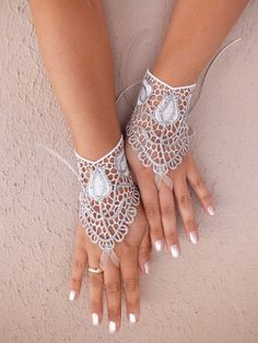 Your place to buy and sell all things handmade Lace Cuffs, Lace Gloves, Crochet Gloves, Crochet Lace, Fingerless Gloves, Bride Gloves, Wedding Gloves, Bridal Cuff, Wedding Jewelry