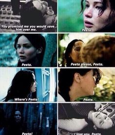 """YOU PROMISED THAT YOU WOULD SAVE HIM OVER ME!"" Katniss loves Peeta so much, and she doesn't even realize it:("