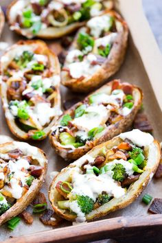 Yes - you can have crispy loaded potato skins while keeping things and Paleo! These crispy baked skins are loaded with roasted broccoli caramelized onions crisp bacon and drizzled all over with homemade ranch for tons of flavor with no dairy in Whole 30 Snacks, Whole 30 Recipes, Whole30, Paleo Recipes, Snack Recipes, Free Recipes, Loaded Potato Skins, Paleo Running Momma, Sugar Free Bacon