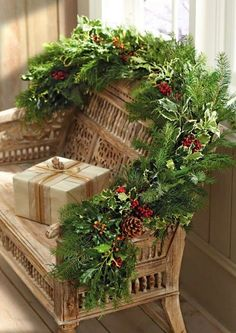 Garlands and swags are essential items in the holiday decoration. When it comes to Christmas home decorating ideas the market offers a lot but you may want to craft them yourself as well. We shall show you some festive garland and swag … Christmas Porch, Noel Christmas, Outdoor Christmas, Country Christmas, Winter Christmas, All Things Christmas, Christmas Wreaths, Christmas Decorations, Christmas Greenery
