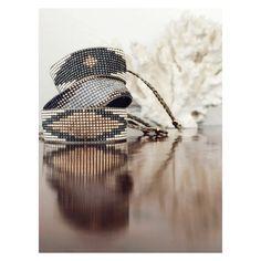 Carmen Salvador - Woman Beaded Boho Bracelet LOSANGE Dark grey, bronze and translucent grey $56.00