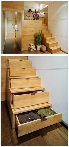 Neat stair idea for a small home.  For the kids to stay the night at grandma's.