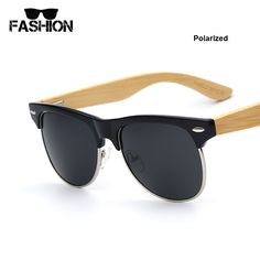 Aliexpress.com   Buy Half Frame Polarized Lens Bamboo Sunglasses Men  Mirrored Brand Wood Sun Glasses For Women Vintage Retro Sunglass Oculos De  Sol from ... c1988ad905
