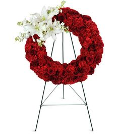 Remember your special loved one with this classic rose and carnation wreath… Funeral Flowers, Wedding Flowers, Red Rose Arrangements, Red Carnation, Flower Bar, Asiatic Lilies, Beautiful Red Roses, Flower Boutique, Sympathy Flowers