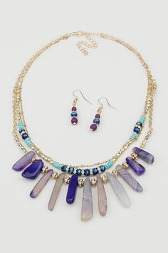 Misha Necklace in Ashen Blue Agate | Women's Clothes, Casual Dresses, Fashion Earrings & Accessories | Emma Stine Limited