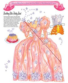 Costume worn by Billie Burke in The Wizard of Oz plus floating island dessert. Page 3 of 8 Pages. By David Wolfe, Paperdollywood. Available for purchase at paperdollreview.com