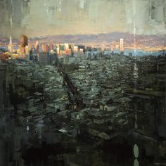 """Last Light of San Francisco"" - 48 x 48 in. Oil on Panel 2013"