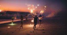 Sparklers on beach with friends. #Life