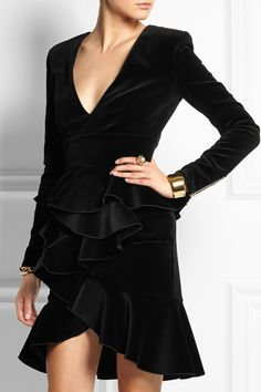 Balmain Ruffled velvet mini dress NET-A-PORTER.COM