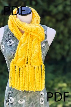 Hand Knitted Chunky Cable Design Scarf PDF by AllThingsHandKnitted