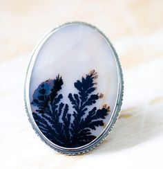 Dendritic Agate Ring Sterling Silver Ring  Plume by @aunebleu, $348.00