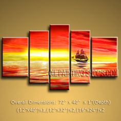 Handmade Pentaptych Modern Abstract Painting Wall Art Contemporary Decor. In Stock $155 from OilPaintingShops.com @Bo Yi Gallery/ ops2405