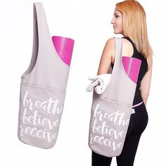 """Yoga Mat Bag by Shantarams - FREE BONUSES - SMALL TOWEL + Yoga exercise eBook included /Sling Tote Bag with side pocket and zipper pocket. FREE BONUS - our yoga mat bag comes with a SMALL LIGHT PURPLE TOWEL + a yoga E-BOOK with exercises so you can practise anytime anywhere with this yoga gear. Breathe Believe Receive - be your own confidence with this EASY to wear, COTTON made, skin friendly yoga bag. 30"""" Long x 13"""" Wide. The TWO POCKETS of our yoga bag will help carry the big and the…"""