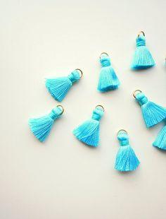 10 Turquoise jewellery tassels Small teal jewelry tassels