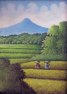 Balinese rice fields | Ricefield - 1 Painting by Balinese Art Crafts - Ricefield - 1 Fine Art ...