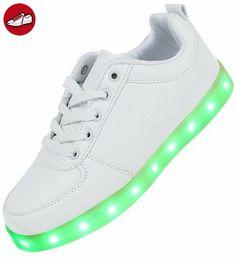 Damen Kinder LED Schuhe Sneaker Leuchtend Blinkend Farbwechsel Gr. 30-42 DX008/DX009 (36, Weiß) (*Partner-Link)