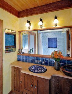 Mexican Talavera Sinks In Powder Rooms Design Ideas, Pictures, Remodel And  Decor Mediterranean Bathroom