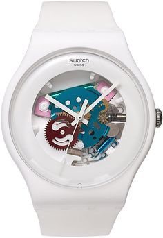 74944521b006 White Lacquered watch from Swatch. Imported White silicone strap Round  white plastic case