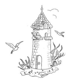 lighthouse stitchery pattern - for Terri? Hand Embroidery Patterns, Embroidery Applique, Cross Stitch Embroidery, Embroidery Designs, Hungarian Embroidery, Vintage Embroidery, Colouring Pages, Coloring Books, Digital Stamps