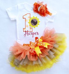 Baby girl first sunflower birthday outfit,fall first birthday,baby Girl…