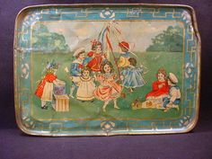EARLY PATTERN BOYS GIRLS MAYPOLE ICE CREAM PICNIC TIN TRAY CHILDS TEA SET