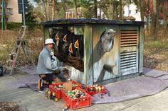 Art-EFX-Trafostation als Nistkasten eines Gartenrotschwanzes, #artefx, #murals, #muralpainting, #streetart, #graffitiauftrag, #substation, #illusionsmalerei, #kleinmachnow, #singvogel