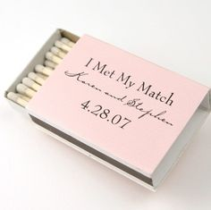 """i met my match"" matchbox save the date"