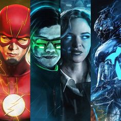The Flash (Barry Allen), Vibe (Cisco Ramon), Killer Frost (Caitlin Snow) and Savitar. Art by Bosslogic #TheFash