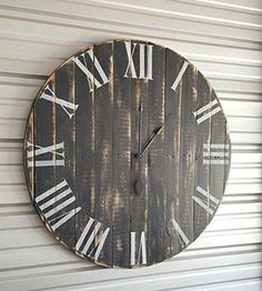 """""""Classic"""" farmhouse clock with dark gray distressed finish and white roman numerals. Fixer upper clock, reclaimed wood clock, shabby chic clock, rustic clock, oversized wall clock The Rustic Clock Shabby Chic Kitchen, Shabby Chic Homes, Shabby Chic Decor, Shabby Chic Wall Clock, Oversized Clocks, Farmhouse Clocks, Farmhouse Style, Modern Farmhouse, Driftwood Furniture"""