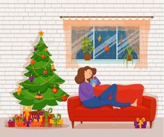 Woman Reading Book by Christmas Tree #Reading, #Woman, #Book, #Tree