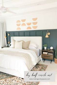 We will grab a few sample colors of Valspar Signature Ultra before making a final decision but I'm really loving the idea of Slate Court. Painted Paneling Walls, Half Painted Walls, Painted Beds, Wood Panel Walls, Modern Master Bedroom, Master Bedroom Makeover, Small Room Bedroom, Bedroom Decor, Bedroom Ideas
